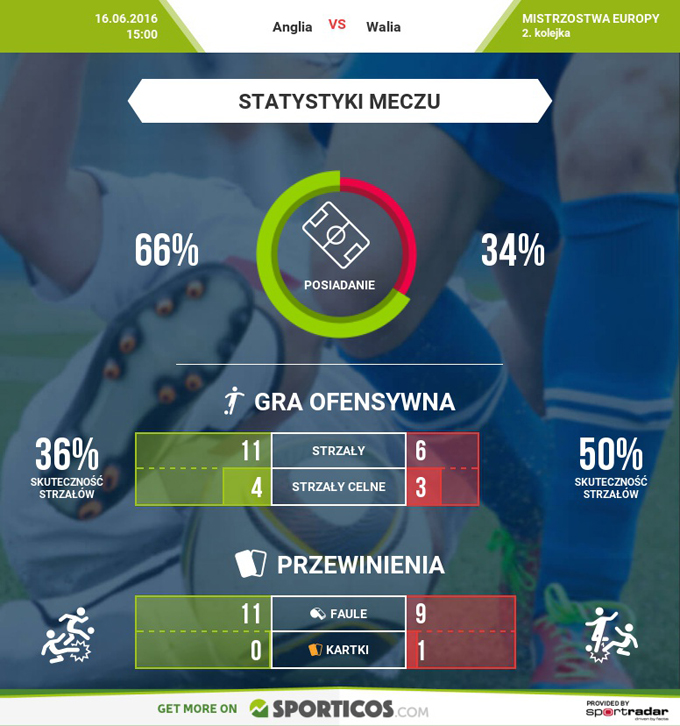 Mecz Anglia - Walia na EURO 2016 - statystyki